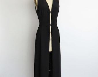 Duster Maxi Vest Cardigan Open Front Lace Bow Vintage Black Dress Medium