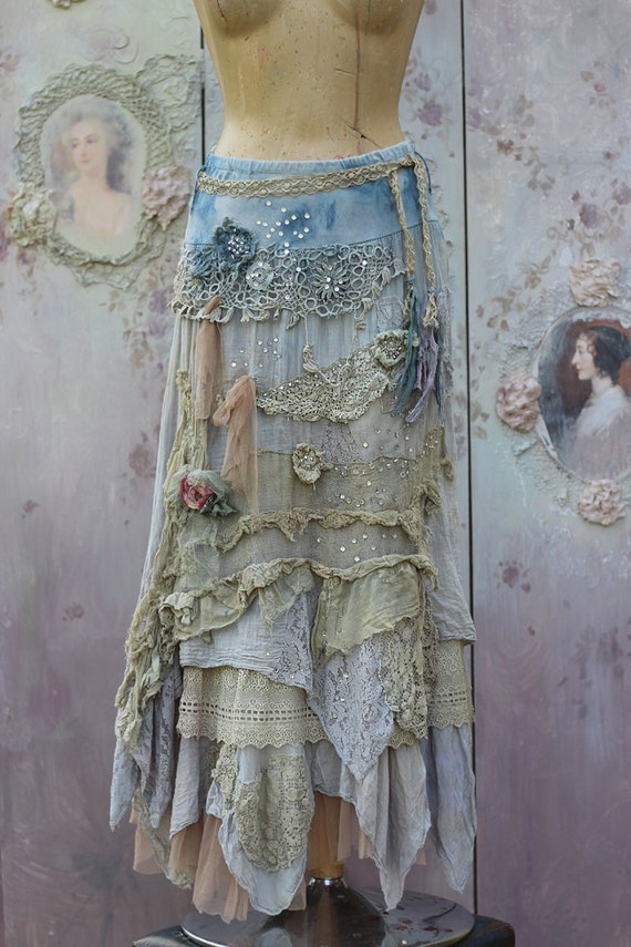 Barocco Skirt Romantic Maxi Skirt M Size Shabby