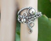 Silver boho ring size 7.5 ring silver wire rings silver gypsy ring silver boho jewelry silver wire jewelry bohemian silver ring
