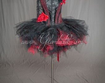 Custom Size Red and black tulle rose burlesque prom dress with head piece Day of the Dead costume s-xl