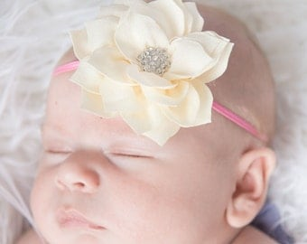Ivory Headband, Ivory Flower headband, pink skinny Elastic Headband, baby headband, toddler headband, newborn headband, flower girl headband