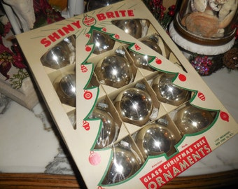 Box of 12 SHINY BRITE Silver Mercury Glass Christmas Ornaments RETRO Bulbs