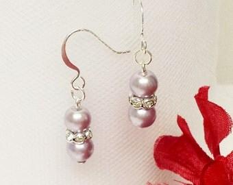 Lavender Pearl Earrings - Traditional Bridesmaid Earrings - 6mm Rondelle Rhinestone Flower Girl Earrings