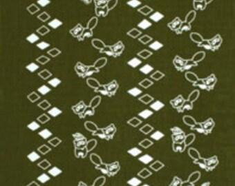 Japanese Tenugui Cotton Fabric, Raccoon & Mountain Road, Kawaii Animal Pattern, Hand Dyed Fabric, Art Wall, Home Decor, Headband, Scarf, a87