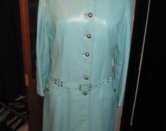 FREE SHIPPING 60's Vintage Turquoise Leather Coat/Vintage Fashion Leather