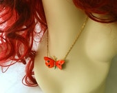 Red Orange Butterfly Necklace Gold, Blood Orange Butterfly Choker, Vintage Butterfly Pendant Necklace, Gold Butterfly Chain Choker Necklace