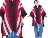 Vintage Striped Hooded Poncho Cape Hippie Mexican Baja Striped Jacket Free Size Pink Knit Layering Beach Womens Poncho Sweater (L/XL)