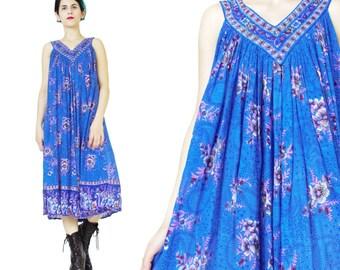 Vintage Indian Cotton Dress Blue Floral Summer Tent Dress Vintage Maternity Dress Hippie Boho Full Dress Sleeveless Trapeze Sun Dress (L/XL)