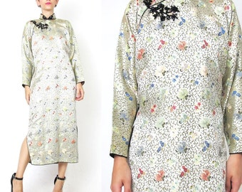 Vintage Chinese Brocade Satin Dress Qipao Cheongsam Dress Long Sleeve Floral Embroidered Dress Mandarin Collar Traditional Asian Dress (M/L)