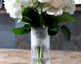 Upcycled / Recycled Belvedere Bottle Glass Vase - Holiday Tree and House Design - Vodka Lovers - Pretty Flower Vase