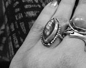 Sepentine Silver Labradorite Ring