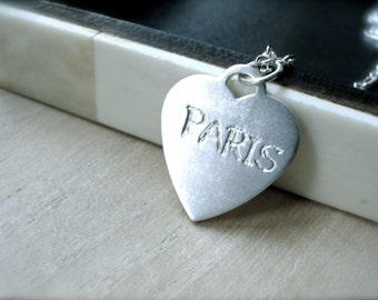 Love Paris silver charm necklace - Personalized engraved silver jewelry your name or travelers favorite city - Valentine gifts for her
