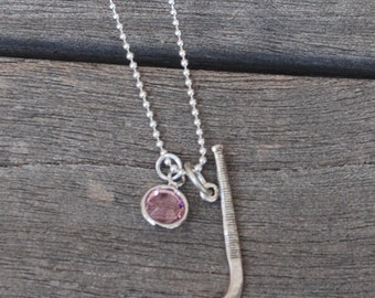 FIELD HOCKEY STICK Sterling Silver Necklace with Pink Swarovski crystal Sterling Ball Chain