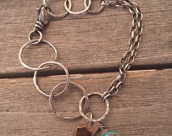 Sterling Silver hand made Large Link Bracelet with Sterling Chain Turquoise Bead with Hand Made Sterling with Copper flower charm 7 inch