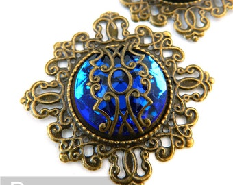 Sapphire Blue Mage Gem Medallion (3 Pieces,12 Color Option)(FP02) Elven Fantasy pendant for larp necklace,elven circlets,steampunk cosplay