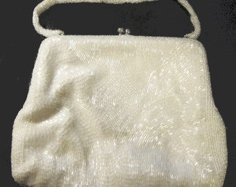 Vintage 1940's Beaded White Evening Bag