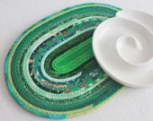 Fabric Coiled Mat / Coiled Rope Mat / Placemat / Hot Pad / Trivet / Eco Green Oval Coiled Clothesline Mat by PrairieThreads