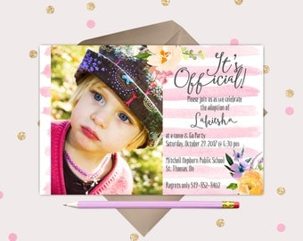 Sweet Girl Adoption Announcement - floral watercolor flowers