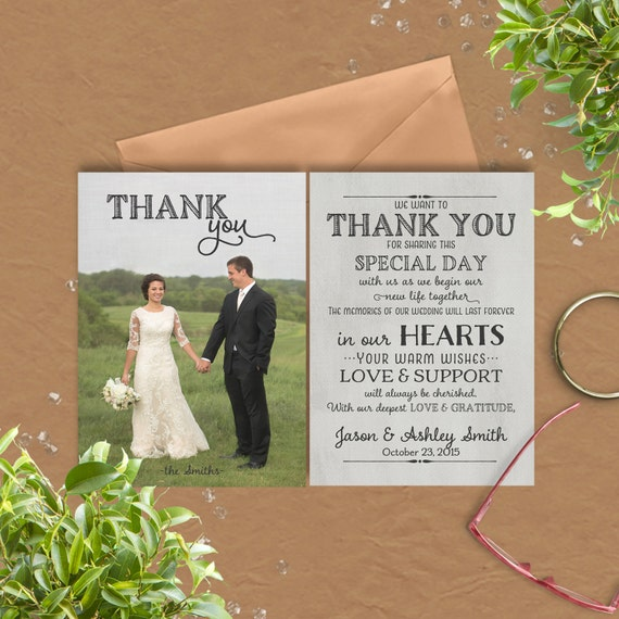 Wedding Thank You Card with preprinted Thank You Message on – Wedding Card Thank You Messages