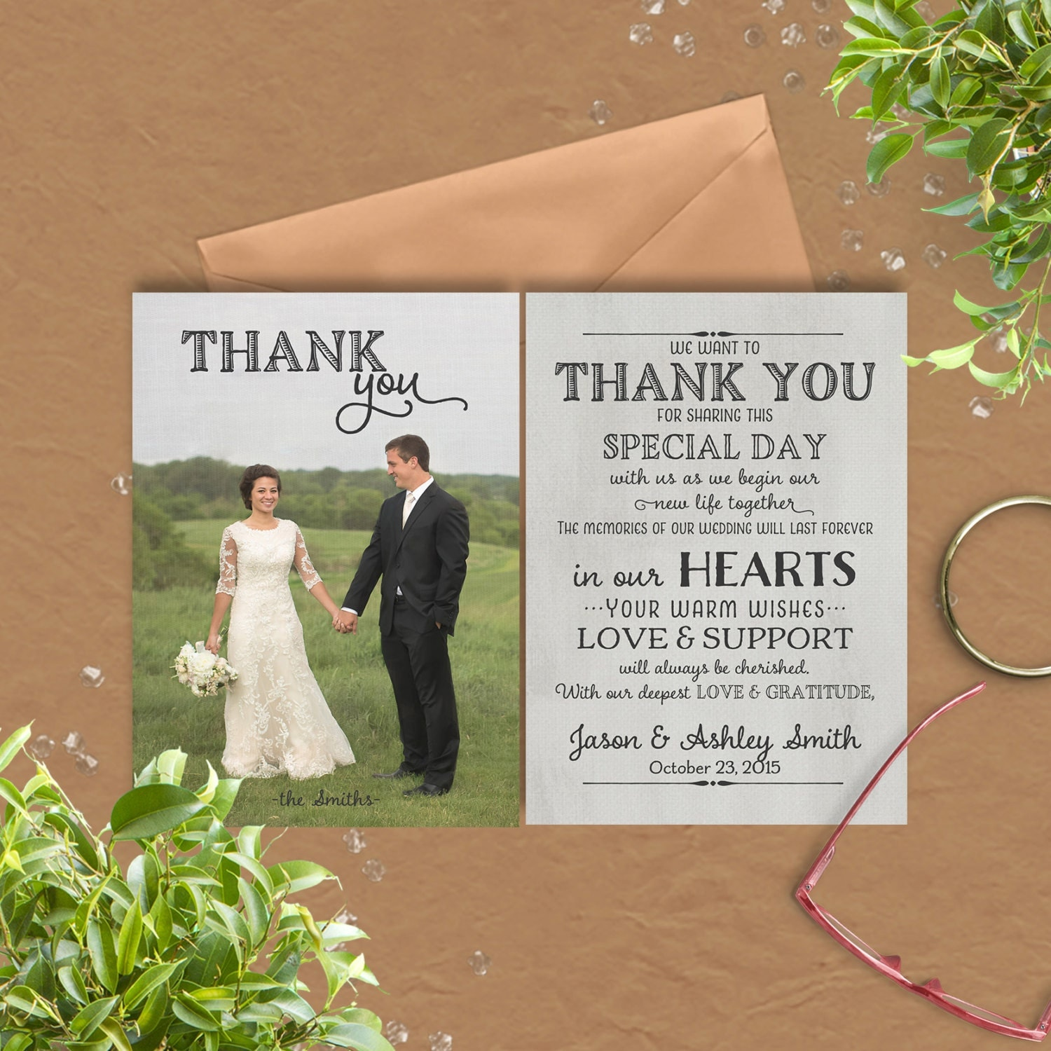 wedding thank you card with pre printed thank you message on