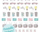 Printable BILLS/UTILITIES REMINDER stickers!-Digital File Instant Download- kikki-k, filofax, planner stickers, erin condren, Happy Planner