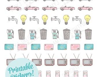 Printable BILLS/UTILITIES REMINDER stickers!-Digital File Instant Download- kikki-k, filofax, planner stickers, hand drawn, Happy Planner