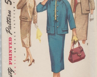 Vintage 50s Sewing Pattern / Simplicity 1798 /  Skirt Jacket Suit / Size 16 Bust 36