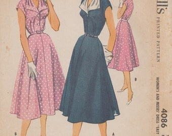 Vintage 50s Sewing Pattern / Dress / Size 18 Bust 38 / McCalls 4086