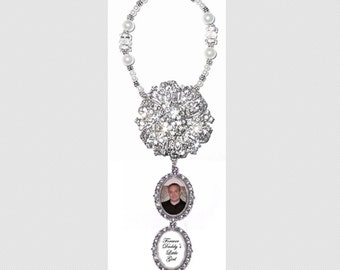 Wedding Bouquet Memorial Photo Double Charm Timeless Old World Crystal Gems Pearls Silver Tibetan Beads - FREE SHIPPING