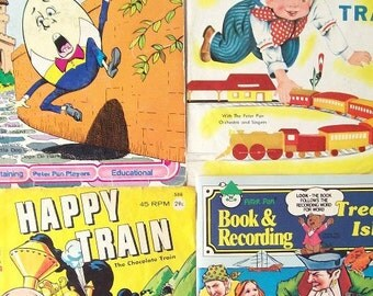 vintage peter pan childrens books & records see hear read recording story storybook songs child kids retro modern 45's trains humpty dumpty