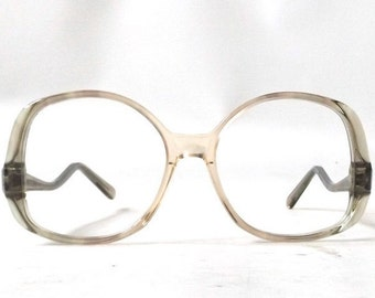 vintage 70s NOS eyeglasses oversized round moss olive green peach plastic frame women eyewear retro eye glasses usa mid century 50/14-135