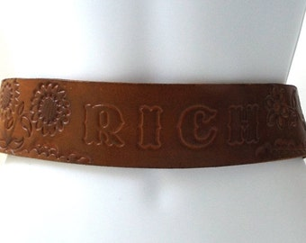 vintage 70's backstock sunflower brown leather tooled belt size 38 mens womens fashion hippie boho retro daisy flowers personalized rich old