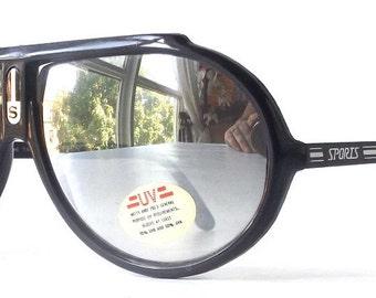 vintage 1980's NOS aviator sunglasses black plastic metal frames silver mirror lenses sun glasses eyewear oversized sports women mens retro