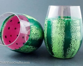 Custom Handpainted Watermelon Glassware