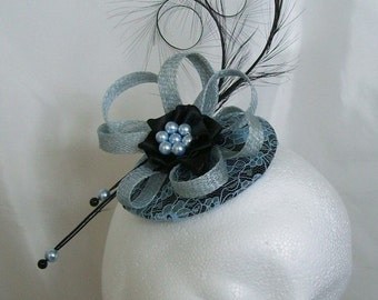 Black & Pale Blue Lace Covered Isadora Fascinator Mini Hat Curl Feathers and Pearls - 'Custom Made To Order'