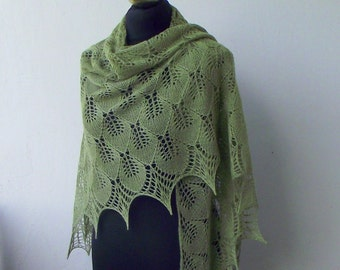 Olive Green  hand knitted silk and merino lace shawl