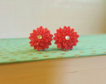 SALE Was 15.00 Coral Rhinestone Mum Flower Plugs Gauges 2g 0g  t370