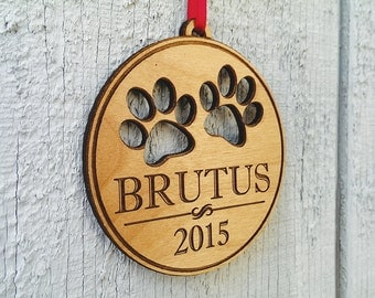 Custom Engraved Personalized Pet Ornament With Paw Prints Pets Name and Date Laser Engraved Wood Ornament Present for Dog Cat Christmas Gift
