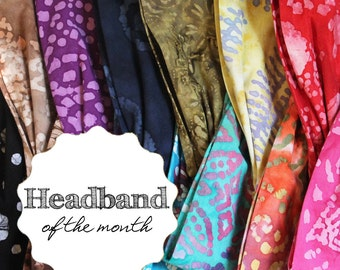 Batik Headband of the Month Care Package Gift Monthly Subscription Headband Gift Colorful Batik Headwrap for Women S M L X