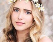 cherry blossom flower crown, white flower headband, rustic floral wreath, boho wedding hair accessory, flower bridal