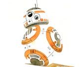 Star Wars - BB-8  Watercolor Print