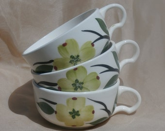 Stetson Joni Dixie Dogwood Cups, Lot of 3, Blue Ridge Southern Pottery, Lime Green Flowers