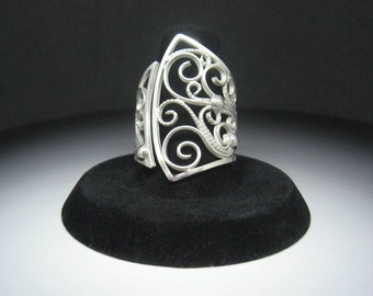 Large Filigree Sterling Silver Scrollwork Elegant Cocktail Ring size 7.5 to size 9 OOAK