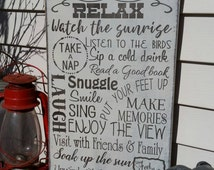 Porch Rules sign CUSTOM Front Porch rules Back Porch rules shabby chic, primitive, Vintage Style Typography Word Art great gift for mom