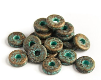 12 Green Patina Mykonos Greek Ceramic Round Washer Beads, Copper washers bead 8mm Craft Jewelry supplies Diy