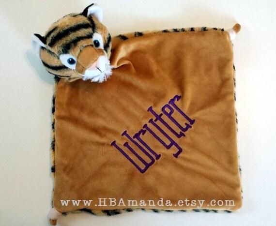 TIGER Minky Blanket - Monogrammed Tiger Blankie - Monogram Baby Gift - Security Blanket - Cubbie Blanket
