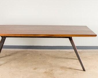 Hardwood Dining Table With Arrow Steel Base Made In Walnut, Pecan or Oak