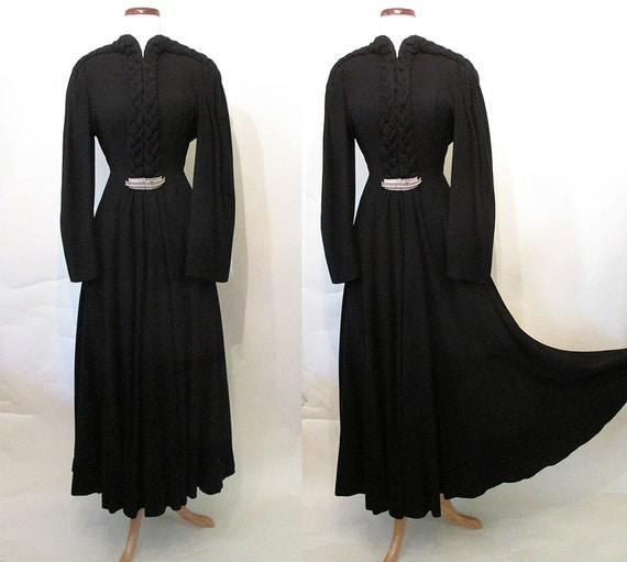 "Incredible 1930's Designer Coat Dress by ""Bullock's Wilshire"" Old Hollywood Joan Crawford Film Noir Starlet Glamour Size-Medium"