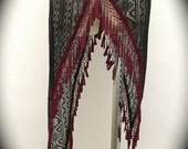SPECIALTY/Last One: Asymmetrical Willow Skirt in Black Tribal Crochet Lace with Red Ornate Tassel Trim (Size M/L)