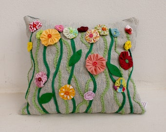 Spring Flowers-mixed media handwoven pillow